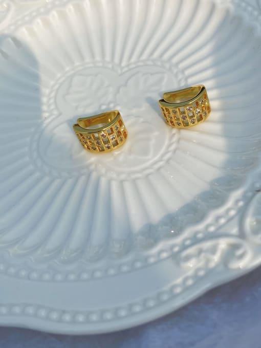LI MUMU Brass Rhinestone Geometric Vintage Stud Earring 1