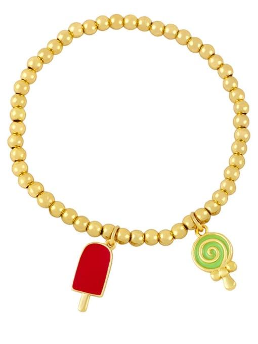 Red and green Brass Enamel Heart Vintage Beaded Bracelet