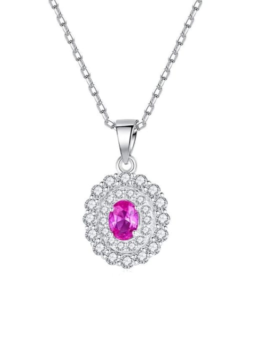 CCUI 925 Sterling Silver Cubic Zirconia Oval Minimalist Necklace