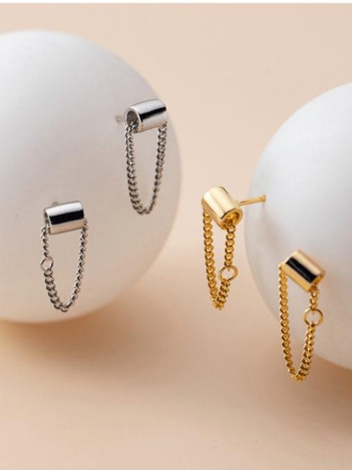Rosh 925 Sterling Silver Geometric Trend Threader Earring 2