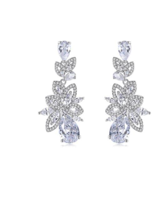 BLING SU Brass Cubic Zirconia Flower Statement Cluster Earring