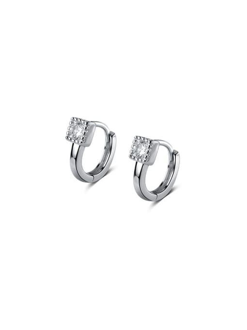 silver 925 Sterling Silver Cubic Zirconia Geometric Minimalist Huggie Earring