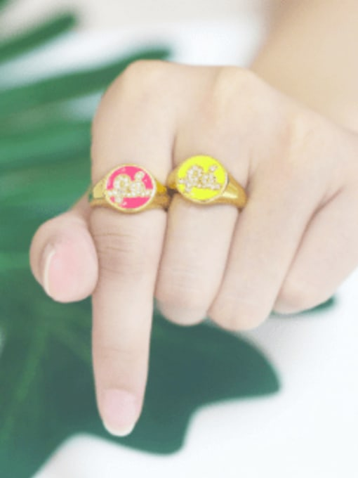 CC Brass Enamel Letter Minimalist Band Ring 1