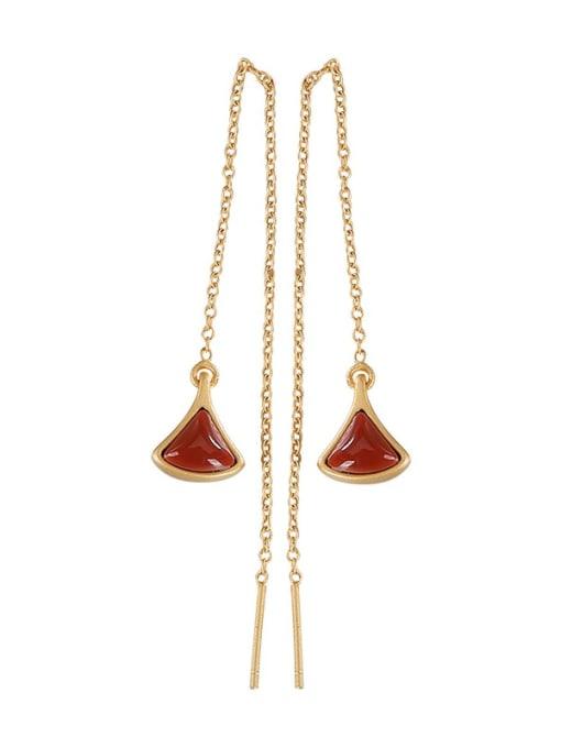 DEER 925 Sterling Silver Jade Triangle Vintage Threader Earring 4