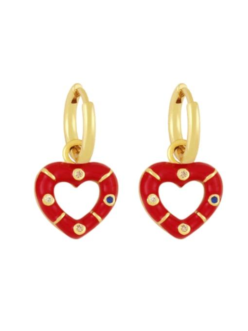 gules Brass Enamel Heart Vintage Huggie Earring