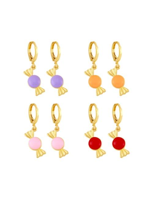 CC Brass Enamel Irregular Candy Trend Huggie Earring