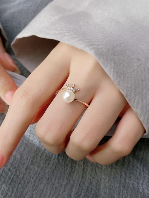 Rosh 925 Sterling Silver Imitation Pearl Crown Minimalist Band Ring 1