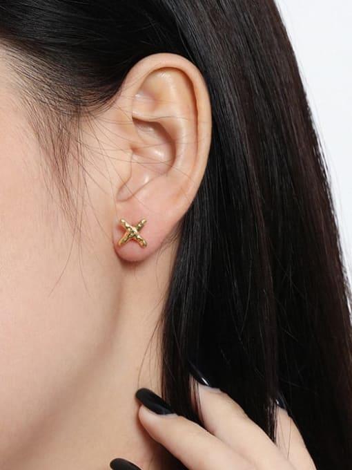 DAKA 925 Sterling Silver Cross Minimalist Stud Earring 2