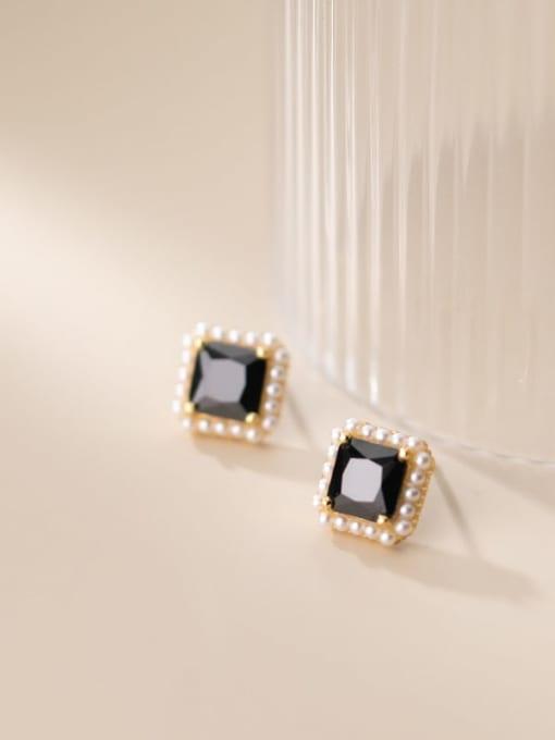 Rosh 925 Sterling Silver Imitation Pearl Geometric Vintage Stud Earring 3