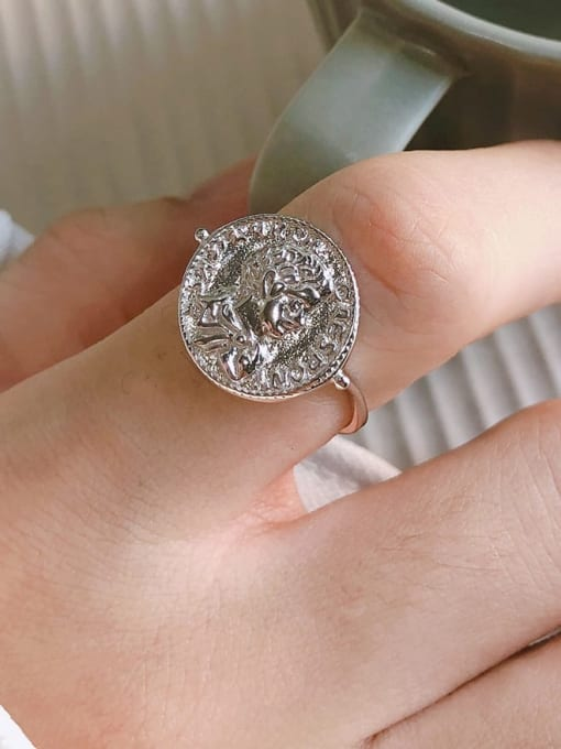 Boomer Cat 925 Sterling Silver Geometric coin Vintage Band Ring 1