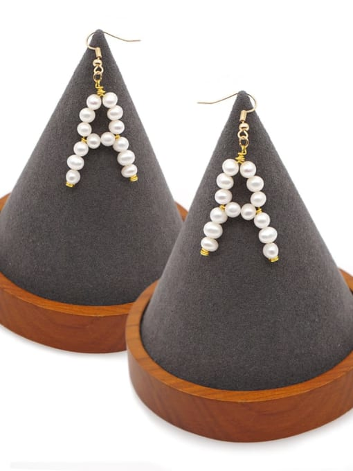 Roxi Stainless steel Freshwater Pearl Letter Ethnic Drop Earring 1