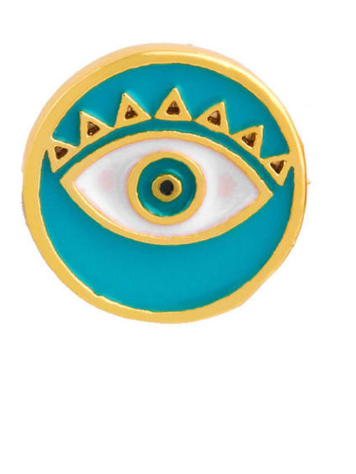 green Brass Enamel Evil Eye Ethnic Stud Earring