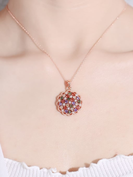 DUDU Brass Cubic Zirconia Flower Dainty Necklace 1
