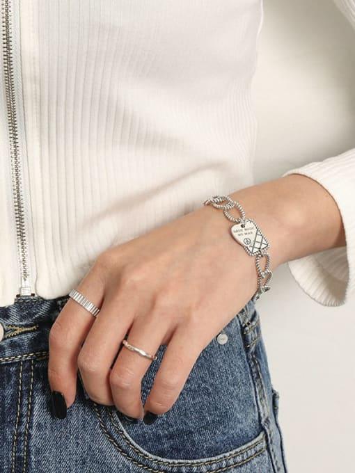 DAKA 925 Sterling Silver Geometric Vintage Love square brand chain  Link Bracelet 3
