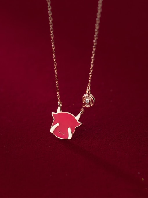 Rosh 925 Sterling Silver Enamel Zodiac Cute  Cow Pendant Necklace 1