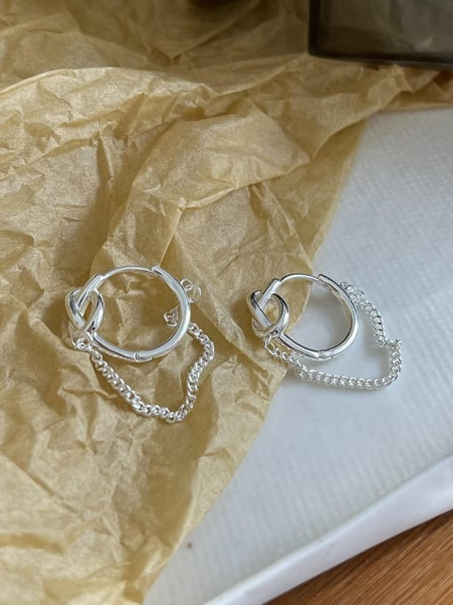 Boomer Cat 925 Sterling Silver Tassel Minimalist Huggie Earring