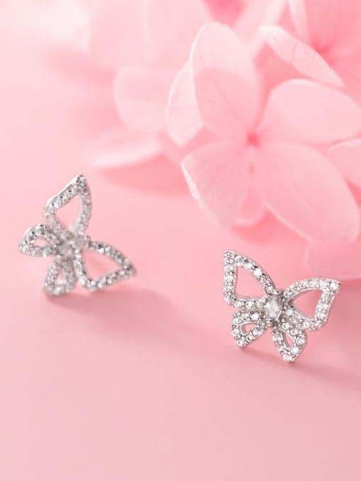 Rosh 925 Sterling Silver Rhinestone Butterfly Dainty Stud Earring 0