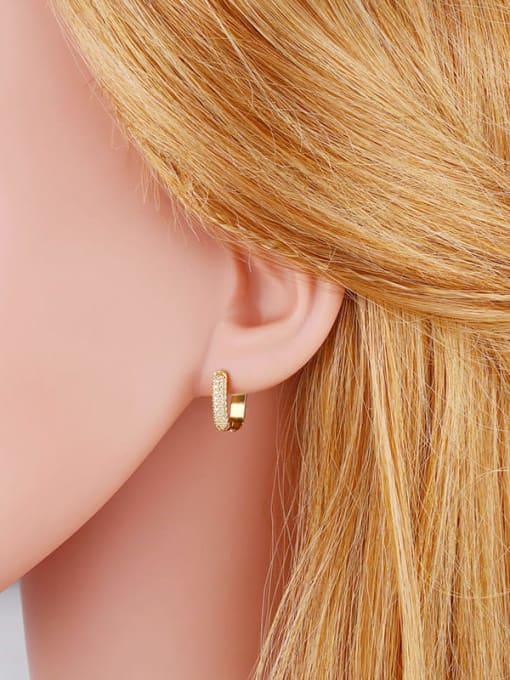 CC Brass Cubic Zirconia Geometric Trend Huggie Earring 2