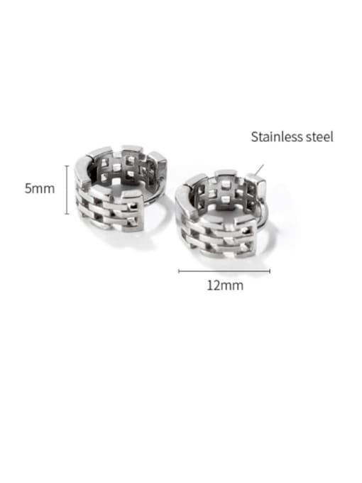 Open Sky Titanium Steel Geometric Hip Hop Huggie Earring 3