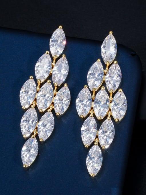 Golden white Brass Cubic Zirconia Flower Luxury Drop Earring