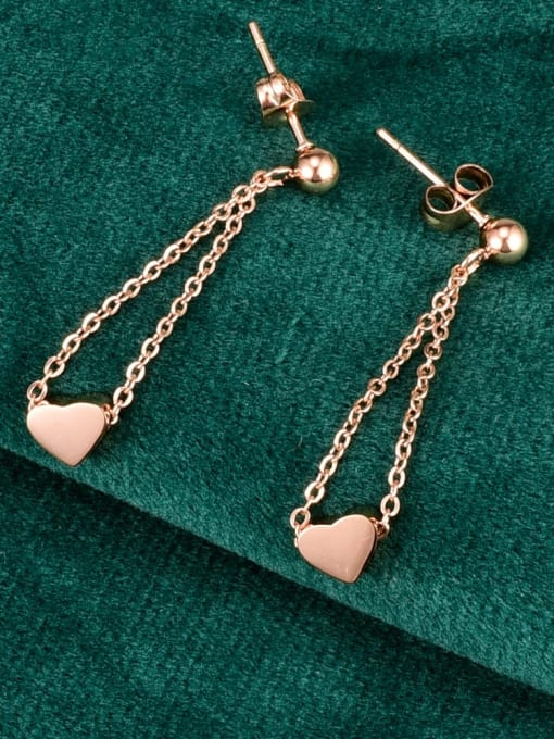 A TEEM Titanium Steel Heart Tassel Minimalist Drop Earring 0