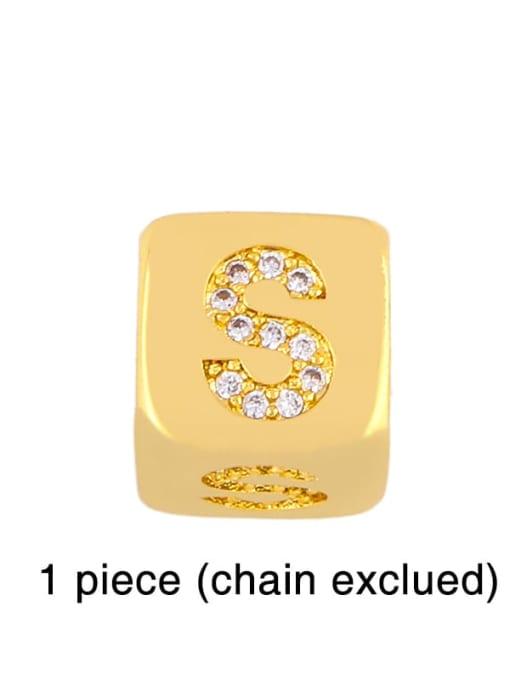 S Brass Cubic Zirconia square Letter Minimalist Adjustable Bracelet