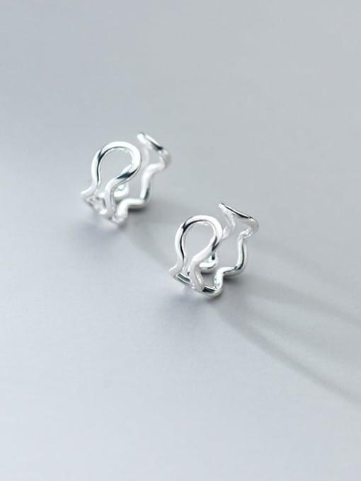 Rosh 925 Sterling Silver Hollow Irregular Minimalist Clip Earring 2