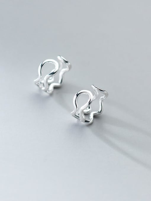 sliver 925 Sterling Silver Hollow Irregular Minimalist Clip Earring