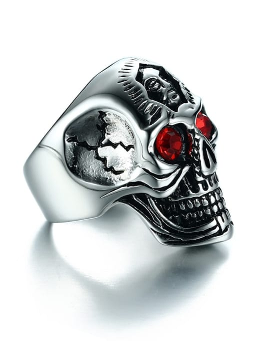 CONG Stainless steel Rhinestone Skull Vintage Band Ring 3