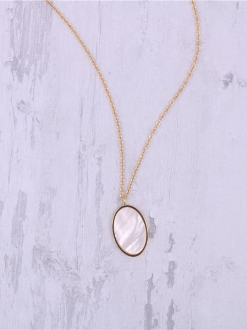GROSE Titanium Steel Shell Oval Minimalist Necklace 2
