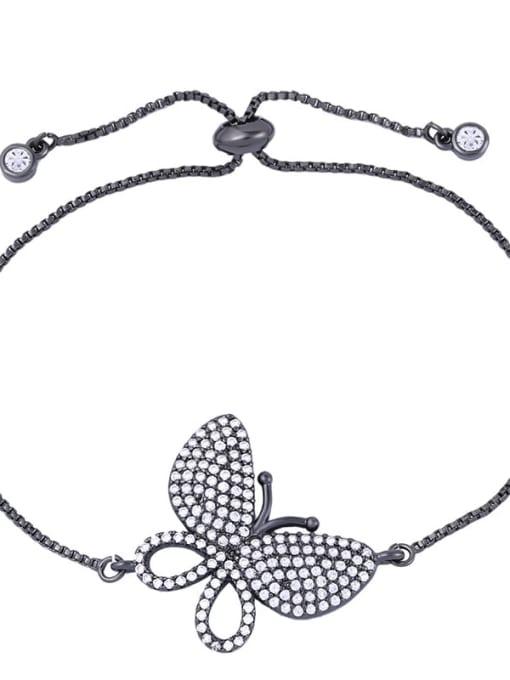 black Brass Cubic Zirconia Butterfly Dainty Adjustable Bracelet