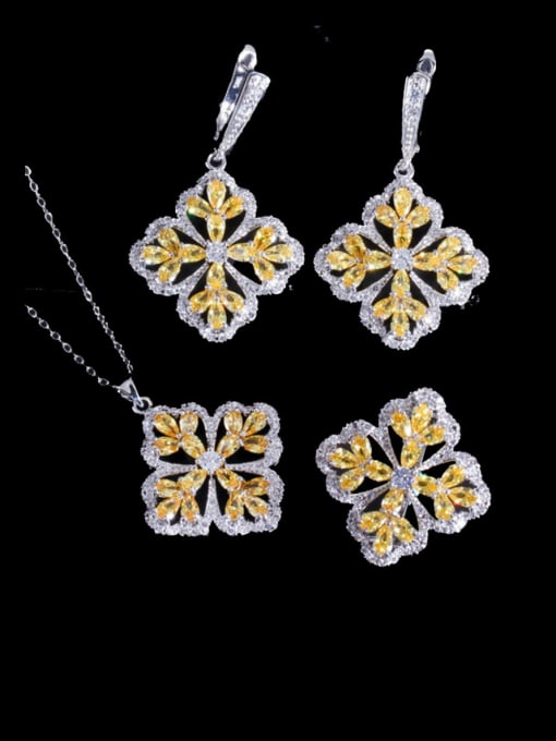 L.WIN Brass Cubic Zirconia Luxury Flower  Earring Ring and Necklace Set