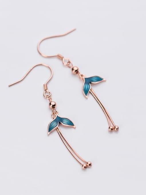 Rosh 925 Sterling Silver Enamel Tassel Minimalist Hook Earring 1