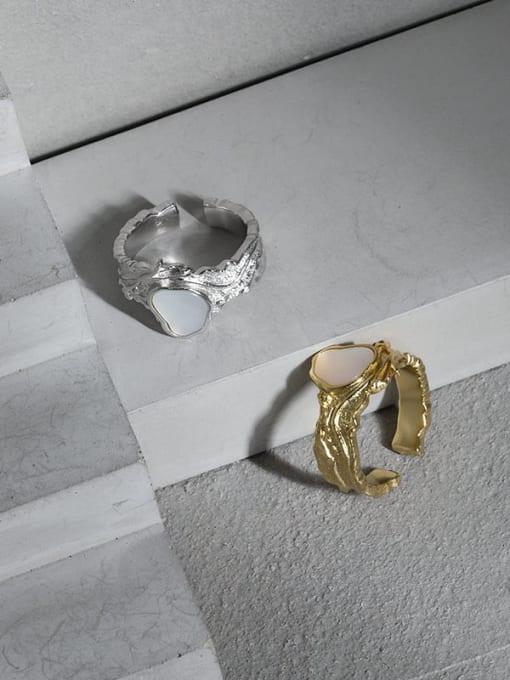 DAKA 925 Sterling Silver Shell Irregular Vintage Band Ring 1