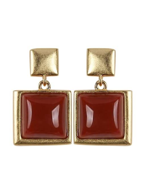 DEER 925 Sterling Silver Carnelian Geometric Vintage Drop Earring