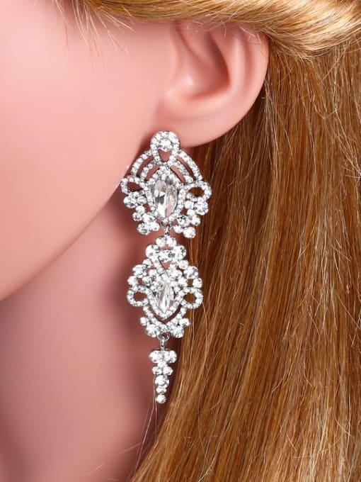 CC Alloy Cubic Zirconia Tassel Vintage Drop Earring 2