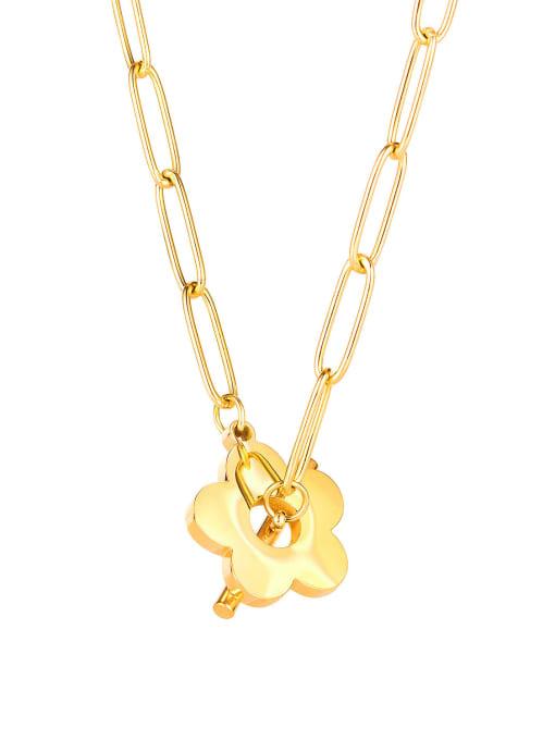 1853  gold Titanium Steel Flower Minimalist Pendant Necklace