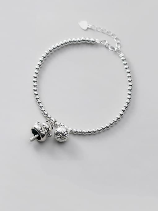 Rosh 925 Sterling Silver Cute retro Beads Bells Little cat Bracelet 0