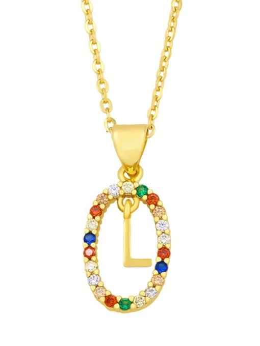L Brass Cubic Zirconia Letter Vintage Oval Pendant Necklace