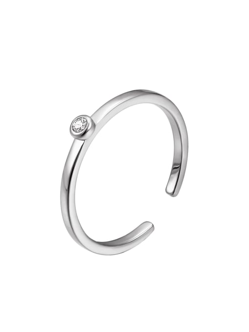platinum Brass Rhinestone Geometric Minimalist Band Ring