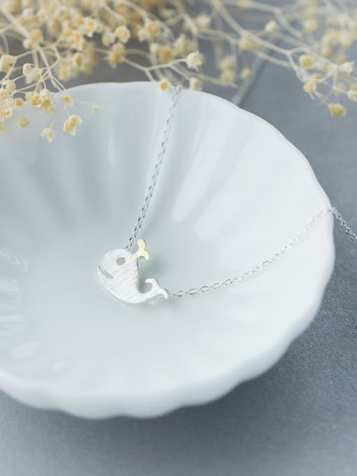 Rosh 925 Sterling Silver  Minimalist Dolphin Pendant Necklace 0