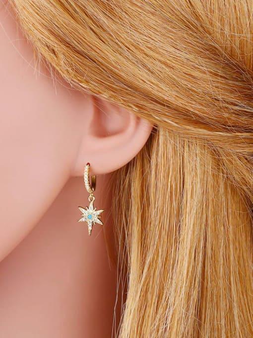 CC Brass Cubic Zirconia Star Hip Hop Huggie Earring 1