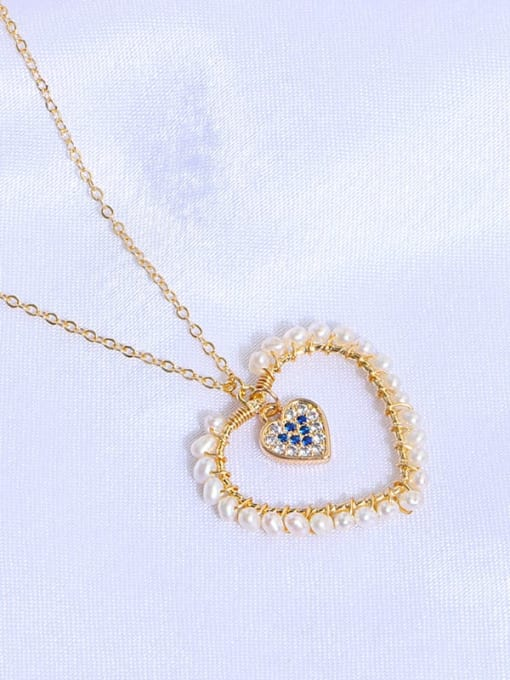 RAIN Brass Freshwater Pearl Minimalist Heart  Earring and Necklace Set 1
