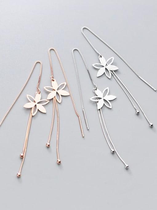 Rosh 925 Sterling Silver Flower Minimalist Threader Earring 3