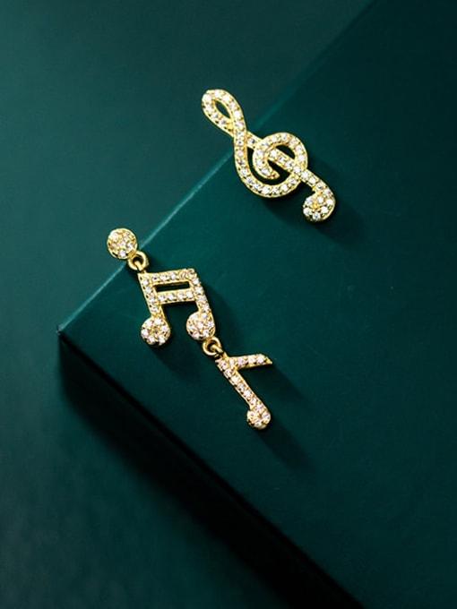 Rosh 925 Sterling Silver Cubic Zirconia Asymmetry Irregular Minimalist Stud Earring 1