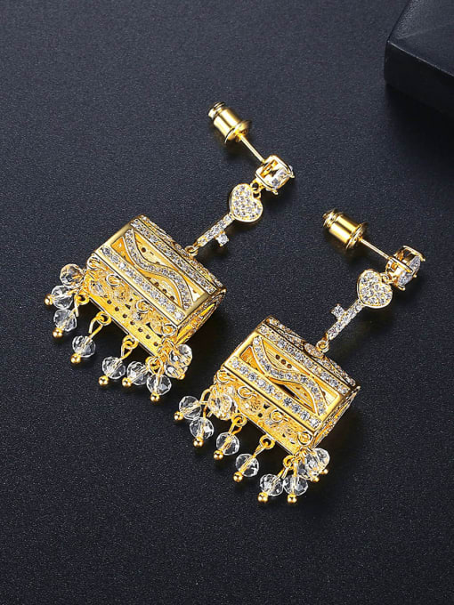 BLING SU Brass Cubic Zirconia Geometric Luxury Drop Earring 2