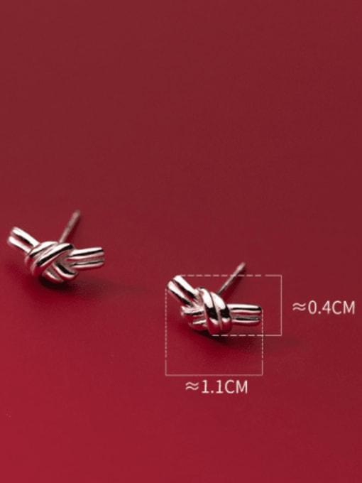 Rosh 925 Sterling Silver Bowknot Minimalist Stud Earring 2
