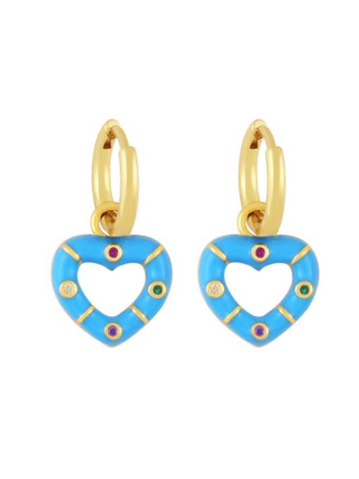 blue Brass Enamel Heart Vintage Huggie Earring