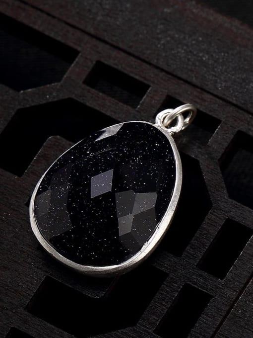 Blue sandstone 990 Sterling Silver Jade Vintage Water Drop Pendant