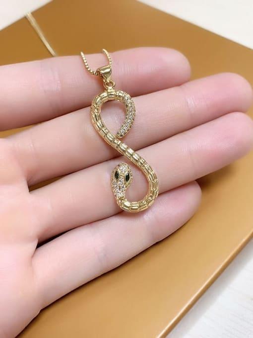 CC Brass Cubic Zirconia Snake Vintage Necklace 3